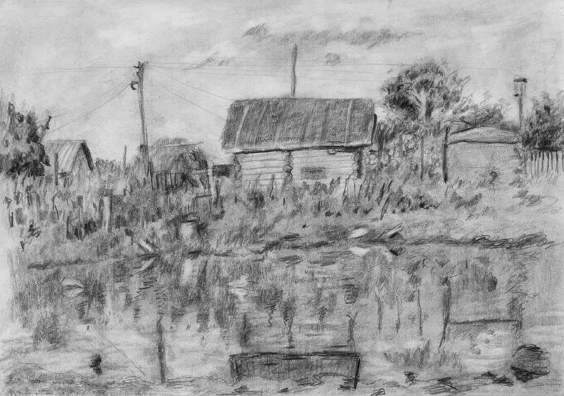 рисунки карандашом деревня: