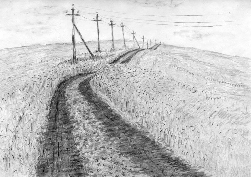 Рисунок карандашом - Долгая дорога в гору: http://migranov.ru/graf/graf1/18.php