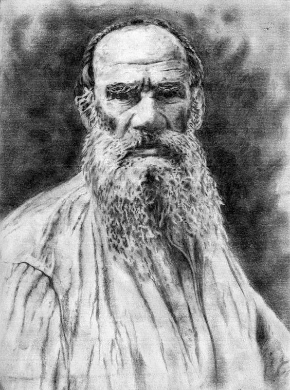 Писатель Лев Толстой. Рисунок карандашом, графика, портрет